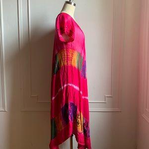Vintage Dresses - Vintage Hot Pink Embroidered Summer Sun Dress